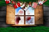 Santa dostarcza prezenty — Zdjęcie stockowe