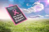 Composite image of breast cancer awareness message — Stock fotografie