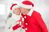 Festive mature couple holding gift — Stock fotografie