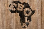 Composite image of black ebola text on africa outline — Stock Photo