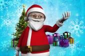 Cartoon santa claus against christmas tree — Stock Photo
