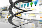 Winding stairs against screen collage — Stockfoto