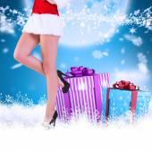 Festive womans legs — Stock Photo