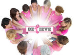 Cheerful women joined in a circle wearing pink — Stock Photo