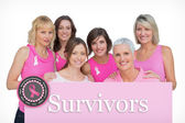 Happy women posing and wearing pink for breast cancer — Stock Photo
