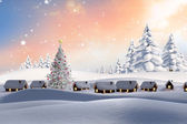 Composite image of snow covered village — Stock Photo