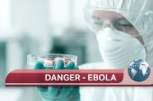 Ebola news flash with medical imagery — Stock Photo