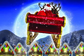 Composite image of santa flying his sleigh — Photo