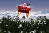 Composite image of santa flying his sleigh — Stock Photo