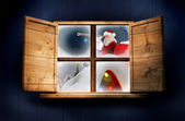 Santa delivers presents against window — Stock Photo