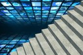 Steps against walls of digital screens — Stock Photo