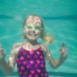 Cute kid posing underwater in pool — Stock Photo #57252405