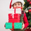 Cute festive little boy smiling at camera — Stock Photo #57255957