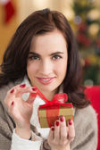 Smiling brunette opening a gift on christmas day — Stock Photo