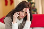 Brunette on the phone on christmas day  — Stock Photo