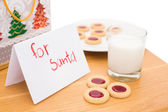 Milk and cookies left out for santa — Stock Photo