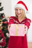 Smiling festive woman offering a pink gift — Foto de Stock