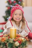 Cute little girl smiling at Christmas — Stock Photo