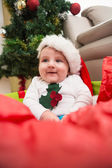 Cute baby boy in large christmas present — Foto Stock