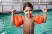 Little boy smiling at the pool — Stock Photo