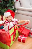 Cute boy in large christmas present — Fotografia Stock