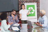 Business team in meeting with recycling symbol — Stock Photo