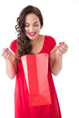 Stylish brunette in red dress opening gift bag  — Stock Photo