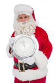Happy santa holding a clock — Foto de Stock