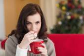 Brunette holding mug and eating marshmallow at christmas — Stock Photo