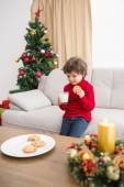 Festive little boy having milk and cookies — Stockfoto