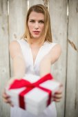 Elegant blonde offering christmas gifts — Stock Photo