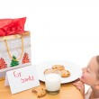 Milk and cookies left out for santa — Stock Photo #57266763