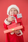 Cute little boy in santa costume — Stock Photo