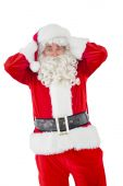 Stressed santa with his hands on head — Foto de Stock