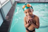 Boy with his medal at the pool — Stockfoto