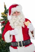Cheerful santa eating a cookie — Stock fotografie