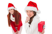 Mother and daughter with christmas gift — Foto de Stock