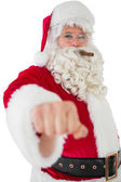 Portrait of santa with cigar — Stock Photo