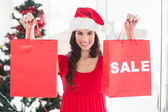Brunette showing sale bag and shopping bag — Stok fotoğraf