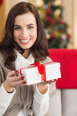 Smiling brunette holding gift on the couch at christmas — Stock Photo