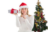 Festive blonde holding gift by the tree — Стоковое фото