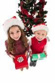 Festive little siblings smiling at camera holding gifts — Zdjęcie stockowe