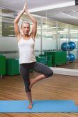 Sporty woman standing in tree pose at fitness studio — Stock Photo