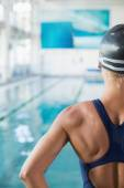 Cropped swimmer by the pool at leisure center — Stock Photo