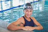 Female swimmer in the pool at leisure center — Stock Photo