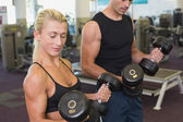 Couple exercising with dumbbells in gym — Stock fotografie