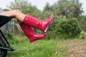 Woman in welly boots in wheelbarrow — Stock Photo