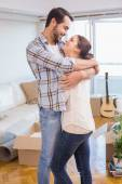 Cute couple hugging and smiling — Stock Photo