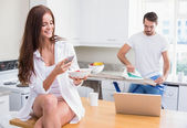 Young couple spending the morning together — Stock Photo
