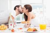 Young couple having a romantic breakfast — Стоковое фото